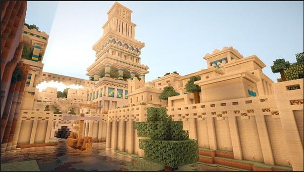 Captura de pantalla del juego Minecrafts, que muestra la Ciudad de Babilonia construida por usuarios del juego.