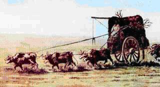 Tropa de carretas, acuarela de Juan León Pallière, 1858.