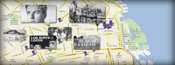 Imagen con fondo de google maps y fotos de Roberto Arlt
