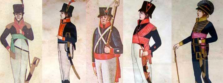 Imágenes de los uniformes de algunos regimientos de la colonia.