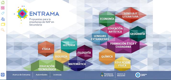 ENTRAMA es una colección multimedial destinada a todos los docentes de la educación secundaria argentina con propuestas de enseñanza de los Núcleos de Aprendizaje Prioritarios (NAP) que apelan al aprovechamiento pedagógico de recursos informáticos y digitales, para cada una de las áreas/disciplinas.