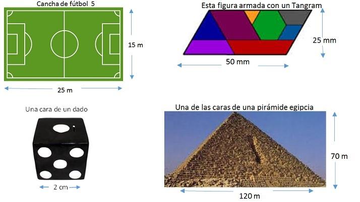 imagen de cancha de fútbol con las medidas 15m por 25m. Cara de un dado