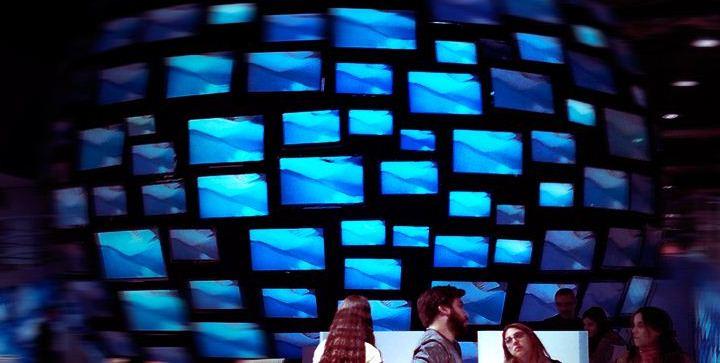 Esfera depantallas del stand de la Feria del Libro 2012