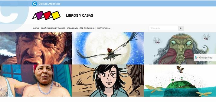 Captura de pantalla del sitio Libros y Casas