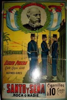 """Marquilla de cigarrillos Santo y seña , del año 1898, con la consigna """"Roca o nadie"""""""