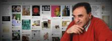 Fotografía de Juan José Saer con fondo de collage de sus libros